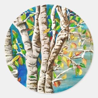 """Autumn Birches"". Acrylics and craft pai Classic Round Sticker"