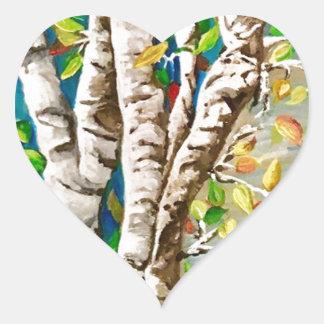 """Autumn Birches"". Acrylics and craft pai Heart Sticker"