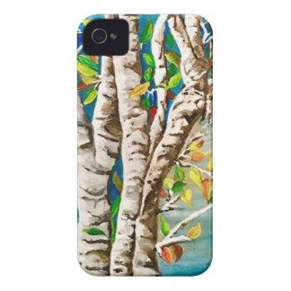 """Autumn Birches"". Acrylics and craft pai iPhone 4 Covers"