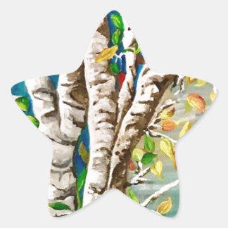 """Autumn Birches"". Acrylics and craft pai Star Sticker"
