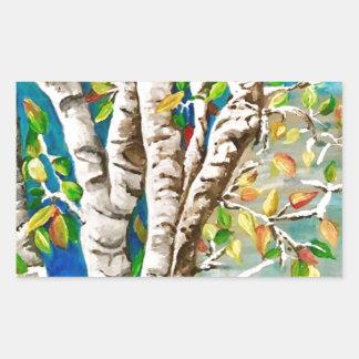"""Autumn Birches"". Acrylics and craft pai Sticker"