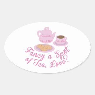 """English Tea Time Fancy a Spot of Tea, Love?& Oval Sticker"