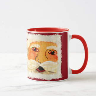Quote (1/8) Vintage Santa Face Painting on Plywood Mug