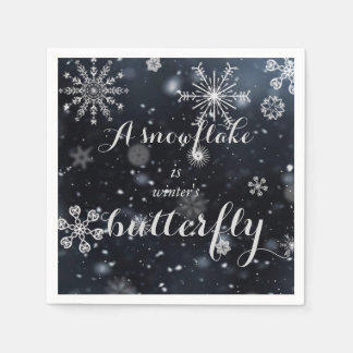 "Quote ""A snowflake is winter's butterfly"" Disposable Napkins"