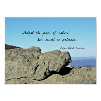 Quote about Nature and Patience, by R.W. Emerson Poster