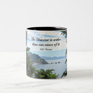 Quote about our views of the universe. coffee mug
