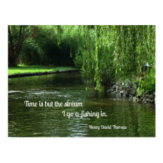 Quote about time and fishing. postcard