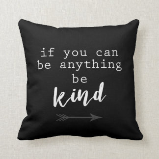 quote accent pillow be kind black and white