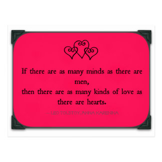 Quote - Anna Karenina - Kinds of Love Postcard