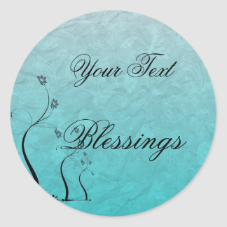 Quote Blessings Floral Teal Sticker