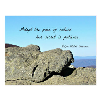 Quote by Emerson: Adopt the pace of nature.... Postcard