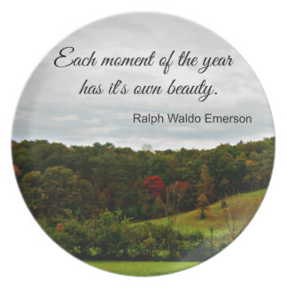 Quote by Ralph Emerson: Each moment of the year Party Plate