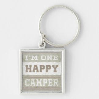 Quote | I'm One Happy Camper Silver-Colored Square Keychain