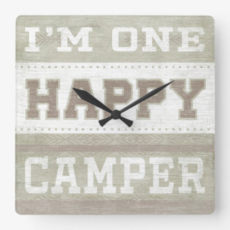 Quote | I'm One Happy Camper Square Wall Clock