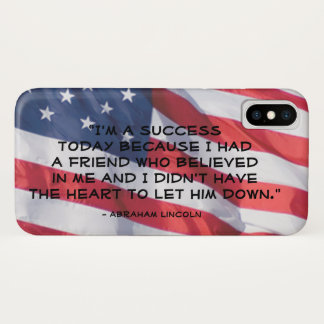 Quote Over American Flag | Abraham Lincoln iPhone X Case