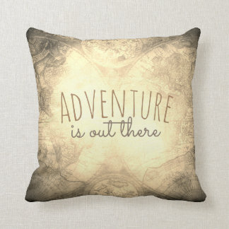 quote pillow antique map sepia toned with text