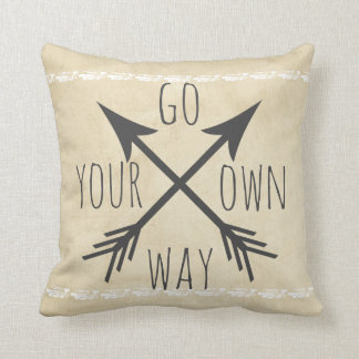 quote pillow distessed go your own way arrows