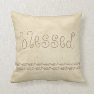 quote pillow distessed sepia and tan with  blessed