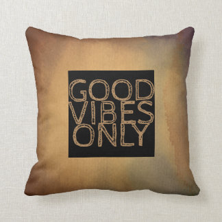 quote pillow good vibes only khaki brown