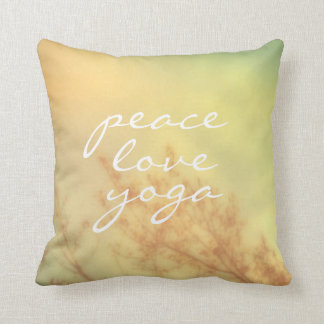 quote pillow peace love yoga nature art