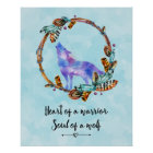 Quote with Howling Watercolor Wolf Boho Style Poster