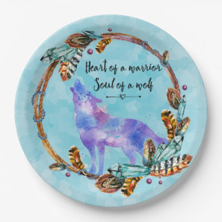 Quote with Howling Wolf in a Boho Wreath 9 Inch Paper Plate