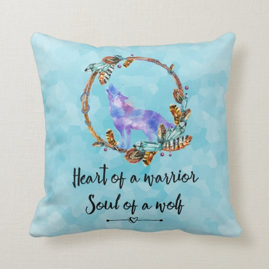 Quote with Howling Wolf in a Boho Wreath Throw Pillow