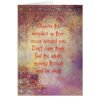 Quotes by Rumi (Greeting Card) Card