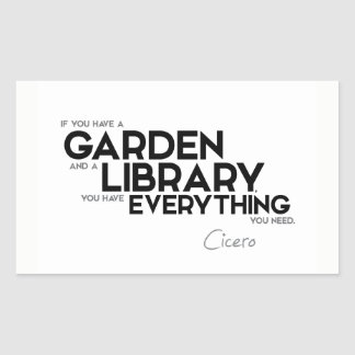 QUOTES: Cicero: A garden and a library Sticker