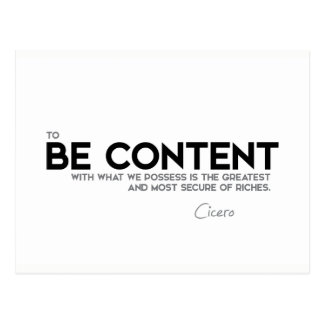 QUOTES: Cicero: Be content Postcard