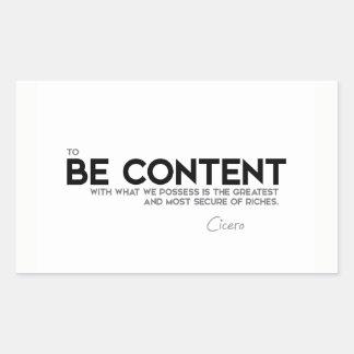 QUOTES: Cicero: Be content Sticker