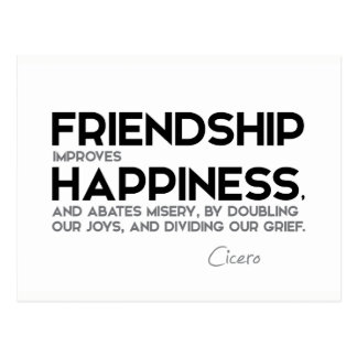 QUOTES: Cicero: Friendship improves happiness Postcard