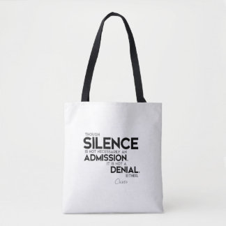 QUOTES: Cicero: Silence, admission, denial Tote Bag