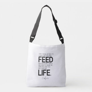 QUOTES: Confucius: Bowl of rice, grow rice Crossbody Bag