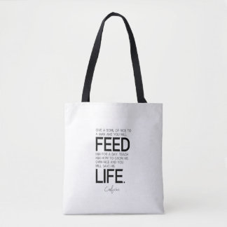 QUOTES: Confucius: Bowl of rice, grow rice Tote Bag
