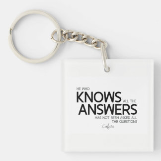 QUOTES: Confucius: Knows all the answers Keychain