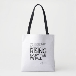 QUOTES: Confucius: Rising every time Tote Bag