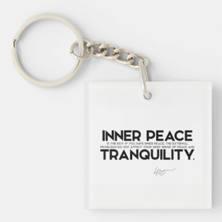 QUOTES: Dalai Lama - Inner peace is the key Single-Sided Square Acrylic Keychain
