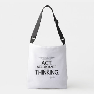 QUOTES: Goethe: To act is hard Crossbody Bag