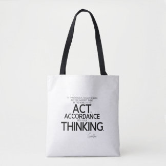 QUOTES: Goethe: To act is hard Tote Bag
