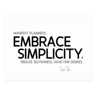 QUOTES: Lao Tzu: Embrace simplicity Postcard