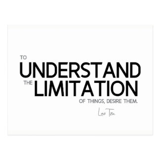 QUOTES: Lao Tzu: Limitation of things Postcard