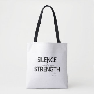 QUOTES: Lao Tzu: Silence, strength Tote Bag