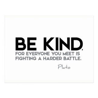 QUOTES: Plato: Be kind Postcard