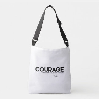 QUOTES: Plato: Courage, fear Crossbody Bag
