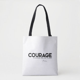 QUOTES: Plato: Courage, fear Tote Bag