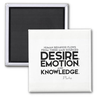 QUOTES: Plato: Desire, emotion, and knowledge Square Magnet