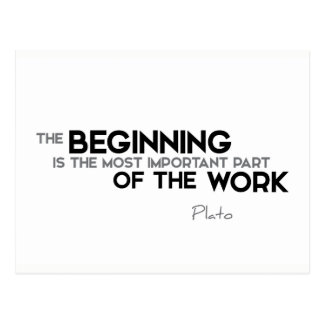 QUOTES: Plato: The beginning, work Postcard