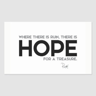 QUOTES: Rumi: Ruin, hope Sticker
