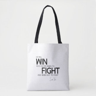 QUOTES: Sun Tzu: Know when to fight Tote Bag